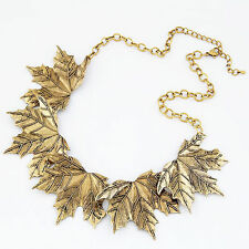 Fashion Womens Vintage Gold Plated Maple Leaf Pendant Collar Statement Necklace
