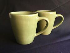 """Pottery Barn """"SAUSALITO"""" Green Coffee / Tea Mugs (Set of 2, Large)"""