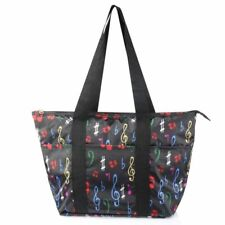 Large Insulated Lunch Tote Bag Picnic Travel Zipper Carry Bag Black Music Note
