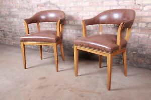 Edward Wormley for Dunbar Janus Collection Leather and Mahogany Armchairs, Pair