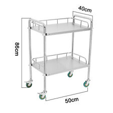 Thick Portable 2 Layers Serving Medical Dental Lab Cart Trolley Stainless Steel