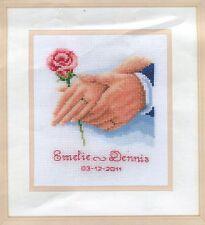 Stickpackung Stickbild sticken 14x16 cm Hochzeit Ehe Liebe Glück Rose Brautpaar
