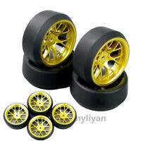 4x Wheel Rim 5 Degree RC Drift Tires DHG+PP0370 For HSP HPI RC 1:10 On-Road Car