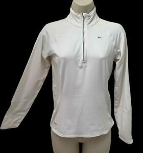 Womens Nike XS Top FITDRY White Long Sleeve 1/4 Zip Sport Athletic Lightweight