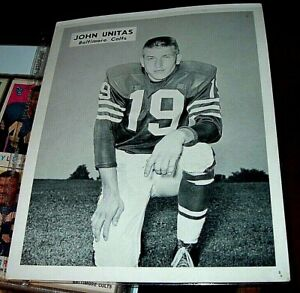 1970's B&W of John Unitas Baltimore Colts it is EX+but has 2 very small pinhole