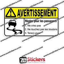 Sticker Autocollant AVERTISSEMENT Règles Passager