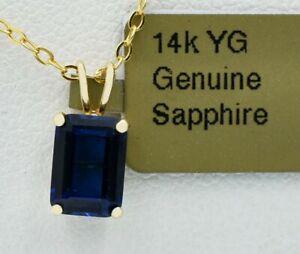 GENUINE 1.66 Cts BLUE SAPPHIRE PENDANT 14K GOLD * Free Certificate Appraisal *