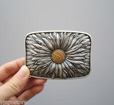 Silver Plated Rhinestones Blooming Daisy Metal Fashion Belt Buckle