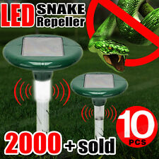 10x Solar LED Snake Repeller Multi Pulse Plus Ultrasonic Pest Rodent Repellent