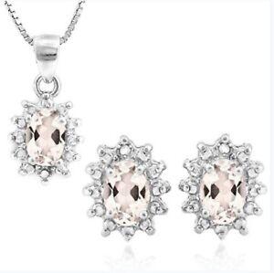 MORGANITE DIAMOND NECKLACE & EARRING SET 1.114 CWT EARTH MINED STONE BRIDAL SET