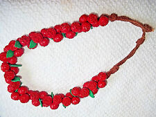 Vintage 'One of A Kind' Red Rosebud Button Necklace