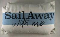 Sail Away With Me Accent Throw Pillow Blue White Nautical Grommets Home Decor