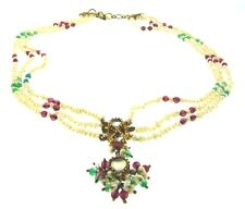 GORGEOUS Indian Pearl, Ruby, Emerald, Silver & Gold Bead Necklace Circa 1970s