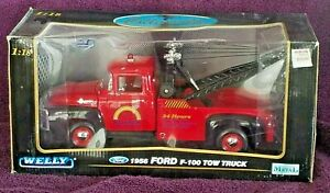 1956 FORD F-100 TOW TRUCK - RED - WELLY  1:18 SPECIAL EDITION
