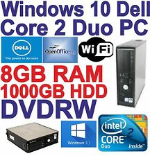 Dell Windows 10 HDMI Core 2 Duo 2x3.00GHz Gaming PC Computer - 8GB DDR3 - 1000GB