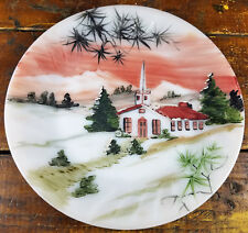 Anchor Hocking Fire King Glass Handpainted Plate - Country Church Woods Sunset