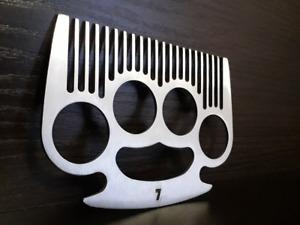 Hair&Beard Comb Bottle Opener Brass Knuckles Gift for Hooligan Barber Accessory