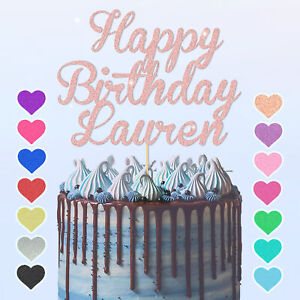Personalised Glitter Happy Birthday Cake Topper Custom Party Decoration Any Name
