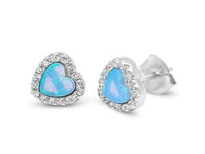 Sterling Silver 925 Blue Heart Metallic Studs Earrings & Crystal Clear CZ Stones