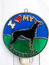 """Stained Glass Style """" Doberman Pinscher """" Dog Night Light- Great Gift For All !"""