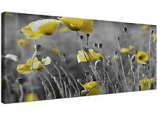 Large Black and White Canvas Art with Yellow Poppies