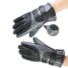 New Leather Warm and Windproof Motorbike Bicycle Bike Full Finger Gloves Size L