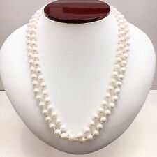 14k Yellow Gold 6.5-7mm White Japanese Akoya Pearl Double Necklace 18''/36''