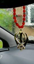 Gold Plated Punjabi Sikh Singh Large Khanda Pendant Car Hanging Red Beads Mala