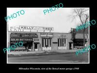 OLD LARGE HISTORIC PHOTO OF MILWAUKEE WISCONSIN, THE STENZEL MOTOR GARAGE 1940