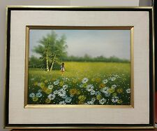 "Framed Original Painting, ""Girl walking in field of flowers"", Shadow Box Frame"