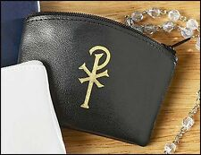 Black Chi Rho Rosary Case (17813) NEW Zippered