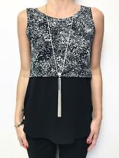 METALICUS black white print with contrast fabric sleeveless tank top sz sml/med
