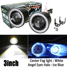 "2x 3"" INCH Projector LED Fog Light w/ Ice Blue Angel Eyes Halo Ring DRL Car 12V"