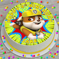 PAW PATROL RUBBLE BIRTHDAY PERSONALISED 7.5 INCH PRECUT EDIBLE CAKE TOPPER HBZ10