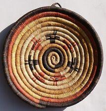 "Hopi Indian 2nd Mesa Vintage 8"" D. Coiled Yucca Basket Deer Heads Tray Ex Cond"