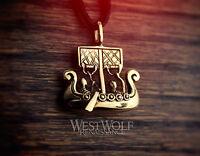 Viking Sailing Ship Pendant -- Norse/Medieval/Warrior/Bronze/Gold/Jewelry/Skyrim