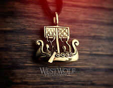 Viking Sailing Ship Pendant -- Norse/Medieval/Warrior/Bronze/Gold/Jewelry/Skyrim