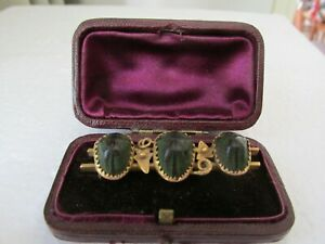 Antique Victorian Gld Egyptian Revival Triple Real Scarab Brooch Val'n $2.025