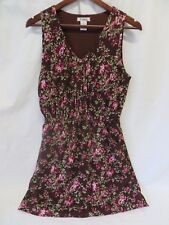 Pinky Brand Lined Dress Sleeveless Elastic Waist Brown Floral Size M  #6234