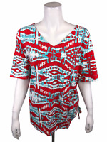 Belle by Kim Gravel Women's Triple Luxe Knit Ruched Side V-Neck Top 2X Plus Size