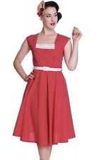 HELL BUNNY VIXEN Red Dress Love Polka Dot Rockabilly Pinup Swing Sz L Large