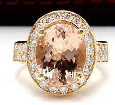 6.91Carats Natural Morganita y Diamante 14K Sólido Anillo Oro Amarillo