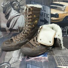 Converse womens knee high trainers size 5.5 brown leather fur all star chuck