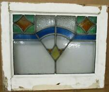 """OLD ENGLISH LEADED STAINED GLASS WINDOW Abstract Geometric Design 19"""" x 15.75"""""""