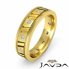 Round Bezel Diamond Eternity Ring 18k Yellow Gold Mens Wedding Solid Band 0.25Ct