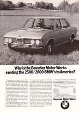 1969 BMW 2800 Sedan on Lawn Photo vintage print ad