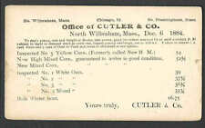DATED 1884 PC NO WILBRAHAM MA CUTLER & CO PURVEYOR OF YELLOW CORN, BRAN ETC