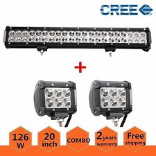 "20""inch 126w led work light bar Truck Combo Lamp Driving 4WD ATV Fog+2x 18W Pods"