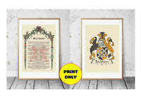 Surname Family Name History Origin Meaning Prints on 2 x A4 - Coat of Arms A