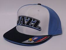 UTAH JAZZ Fitted Flat Bill NBA Cap/Hat -WHITE/BLUE
